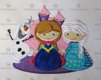 Princess and Snowman Trio - Iron On or Sew On Embroidered Applique