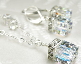 Bridal Swarovski Crystal Cube Jewelry Set, Sterling Silver, Clear White Wedding Necklace and Earrings, For the Bride, Handmade Gift