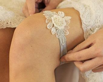 Wedding Garter | Lace Garter | Bridal Garter | Boho Garter | Blue Garter | Lace Flower Garter [Colette Garter]