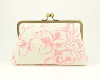 SALE | Blush Clutch | Bridesmaid Clutch | Bridesmaid Gift | Floral Clutch [Blush Painted Roses]