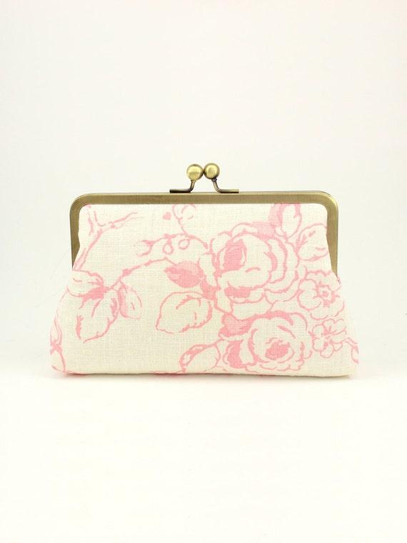 SALE | Blush Clutch | Bridesmaid Clutch | Bridesmaid Gift | Floral Clutch [Blush Painted Roses]