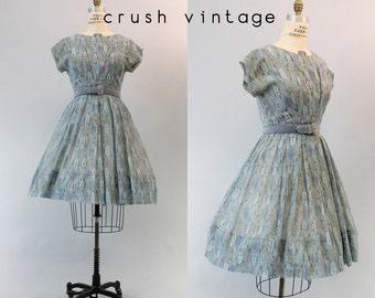 50s R&K Cotton Dress Medium / 1950s Novelty Print Dress / Stained Glass Dress