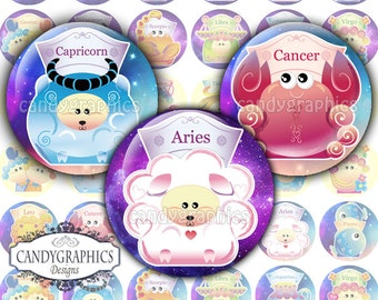 Zodiac Signs - 1x1 inch Circles Digital Collage Sheet Great for bottlecap pendants - Buy 2 Get One Free
