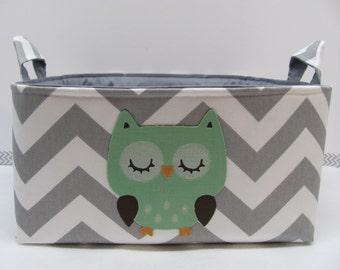 NEW Fabric Applique OWL Diaper Caddy - Fabric organizer storage bin basket - Zig Zag/Chevron You CHOOSE the fabrics