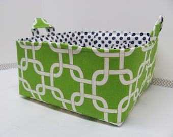 Fabric Diaper Caddy - Diaper Bag - Storage Basket - Organizer Bin - Nursery Decor - Personalized / Custom - Baby Gift - Green Geometric