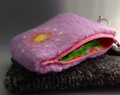 Lilac Purple Retro Mum Felted Wool Zippered Coin Pouch or Purse , Notions Bag , Wristlet  OOAK and Handmade in USA