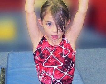 Girls Gymnastics Leotard Childs size 2 4 6 8 10 12 14 16 Teens black red gray white geometric design New Kids Gym leos