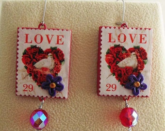 Dove earrings - Love postage stamps