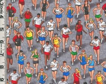 Fabric Timeless Marathon Runners Running Jogging RACE TRACK gray C2889