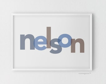 Modern name art print poster, nursery art, blue brown, nursery art boy, new baby boy gift