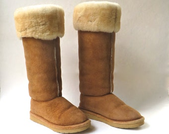 vintage Tall Brown Suede Shearling Cuffed Winter Boots / Brown Suede Shearling Mukluks