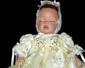 REBORN or BABY GOWN Golden Ivory tulle net 3d Emroidered floral size 0-3 month
