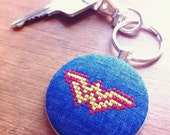 Wonder Woman keychain gift. Old school pixelated cross stitch inspired by DC Comics Diana Prince key chain.