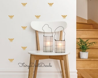Honeybee wall decals, Set of 25, Bee Stickers, Honey Bee Decoration, vinyl wall decals, bee decal, gold honeybee decal, queen bee, gold bee