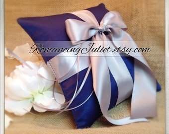Romantic Satin Ring Bearer Pillow...You Choose the Colors...Buy One Get One Half Off...shown in navy blue/silver gray