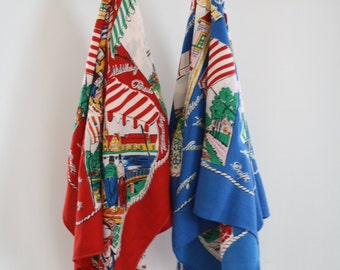 Two Vintage Netherlands Souvenir Scarves