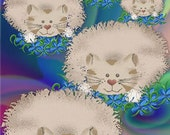 ACEO Orig  Digital Painting Five Chubby Cats