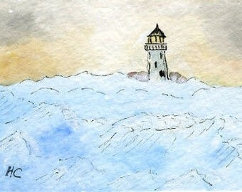 Original Watercolor ACEO Art Card, Rough Sea, Lighthouse, Ocean