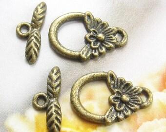 8 sets Antique brass loggle clasps (FIND-118)