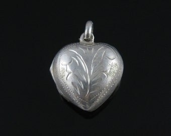 Charm, Sterling Silver, Vintage, Heart Locket, Silver Pendant