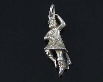 Vintage Scottish Highlander Sterling Silver 3D Charm