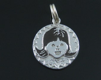 Vintage Sterling Silver Enamel Girl Face Charm