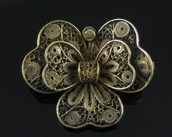 Vintage Filigree Golden Vermeil Sterling Silver Brooch Pendant