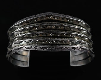 Cuff Bracelet, Five Band, Large, Sterling Silver, Southwestern Bracelet, Without Stones