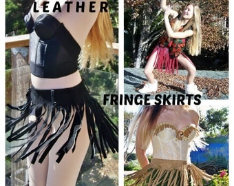 Leather fringe skirt, Green Suede skirt, Fringe Leather skirt, Woodland Pixie skirt, Festival skirt, size M / L