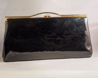 vintage black patent leather clutch