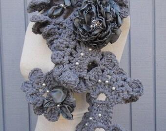 sea shell   neckwarmer ,scarf grey color