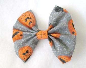 Halloween Gentleman Pumpkin Patterned Fabric Hair Bow