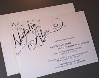 Script Corner Names Custom Wedding Invitation Set
