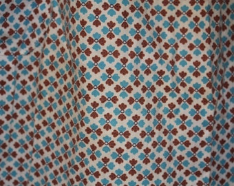 Vintage apron - 1950's blue brown geometric calico with pocket