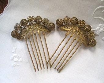 French Filigree Hair Combs Set of 2 in Gold Wash Victorian  Early 1900's