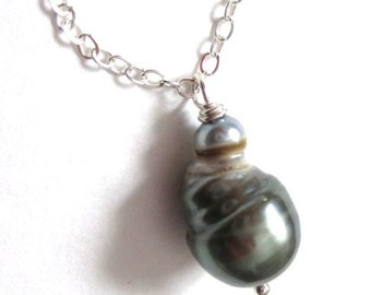 South Sea Pearl Necklace, baroque pearl, june birthstone, Tahitian pearl