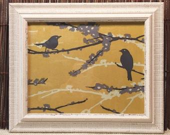 Fabric Dry Erase Board Distressed White Frame, Birds Yellow, Black, Gray Wall Art.