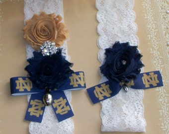 Notre Dame Garter Inspired ,Notre Dame Garter,Football Garter ,Sports Garter,Bridal Garter,Something Blue Garter
