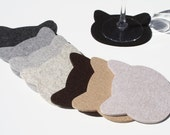 Cat Head Drink Coasters 5mm Thick Virgin Merino Wool Felt Set of 8