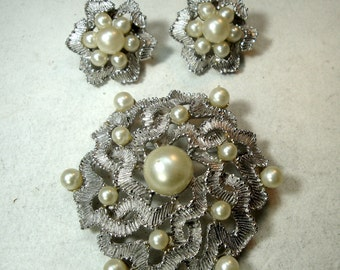 Pin SET, Fancy White Pearl n Silver Pin and Clip Earrings, 1960s Mid Century Glamorous Hollywood Traditional Elegance