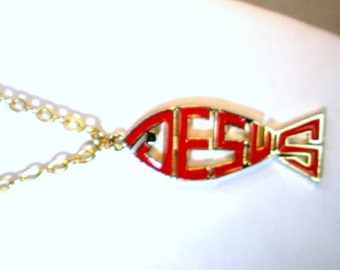 JESUS Red Fish Pendant, Gold Fisherman of Souls Symbol on Gold Chain, Christian  Religious Necklace 1980s