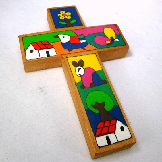 Painted Wood Folk Art Cross 1980s Christian By