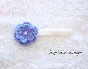 Newborn Baby Girl Crochet Pearl Flower Headband Purple and White