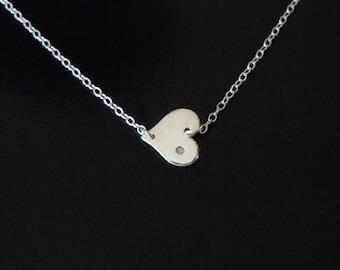 Tiny Diamond SIdeways Heart Necklace