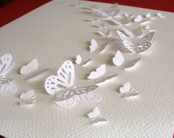 INVENTORY CLEARANCE All White on Creamy Ivory Background 3D Butterfly Art. Winter Wonderland. 8x10 inches. Ready to Ship