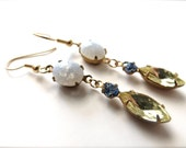 Jonquil Green and Sapphire Jewel Earrings, Blue Crackle Glass Stone Accents // old hollywood glamour, mid century, gold hypoallergenic steel