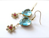 Aqua Blue Glass Heart Earrings, Rhinestone Flower Charm Accents // bright spring colors, vintage inspired, girly, gold hypoallergenic wires