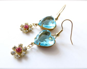 Aqua Blue Glass Heart and Pink Flower Rhinestone Charm Earrings, Colorful Feminine Girly Glamour Jewelry, Gold Surgical Steel Hypoallergenic
