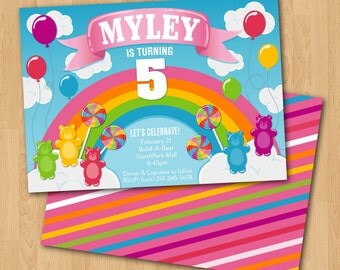PRINTABLE Rainbow Candy birthday party invitation and coordinating back