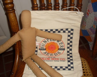 feed sack doll kit, feed bag , doll supplies, make your own, flour sack crafts, cotton bags, sewing supplies